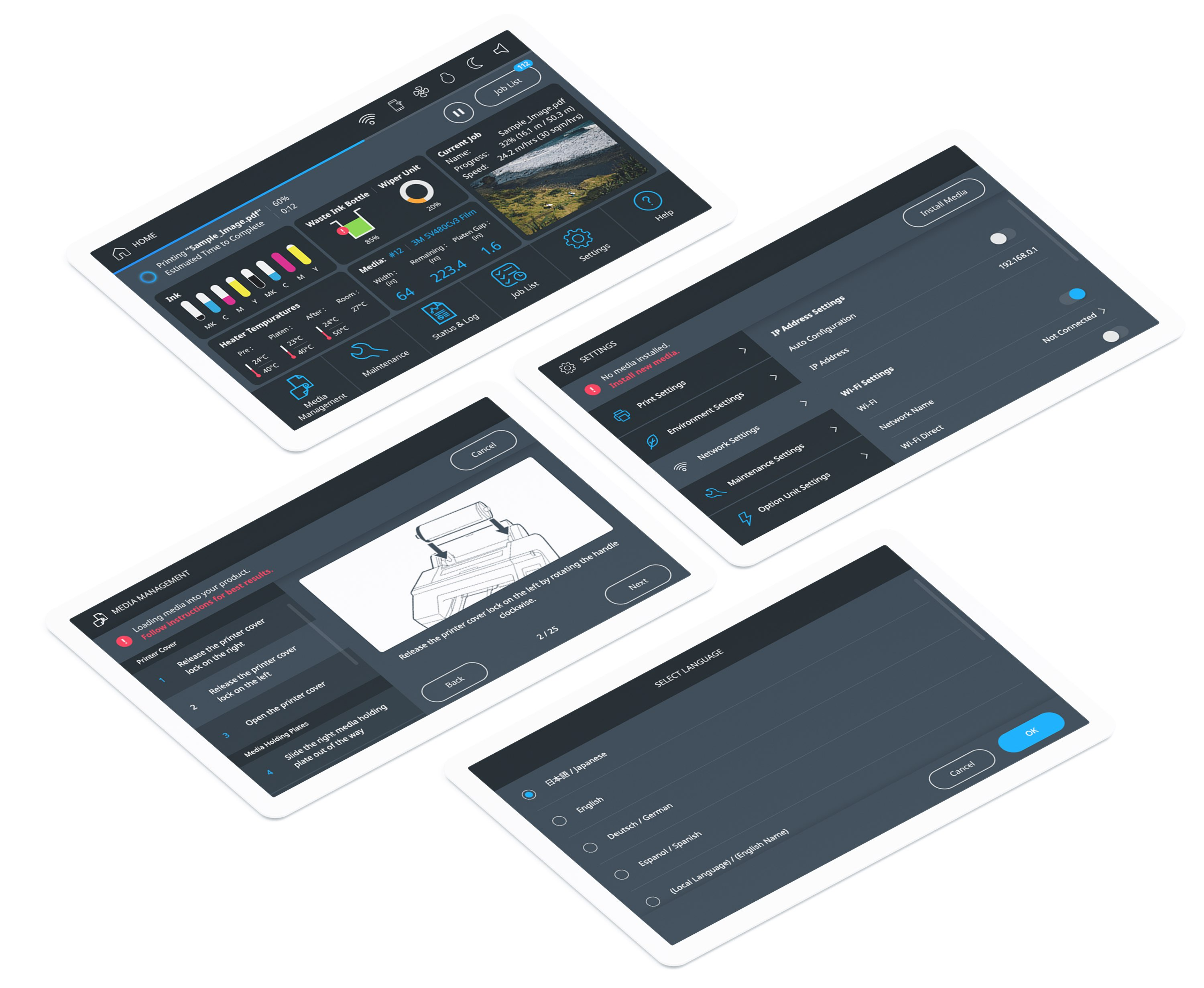 Epson's design agency touch screen interface design