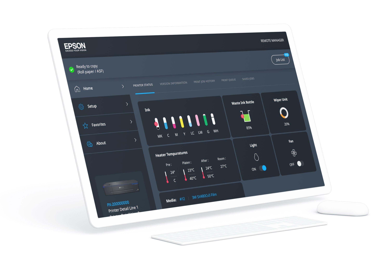 Epson's design agency 3D rendering of Epson printer interface
