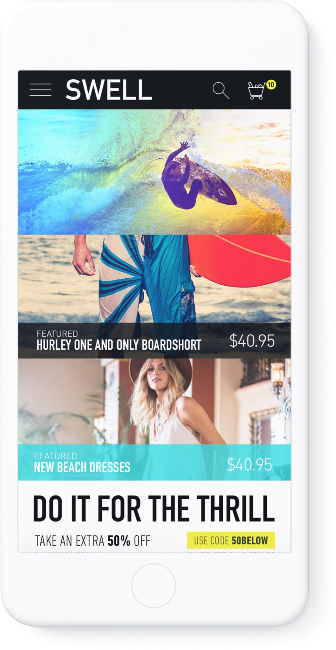 SWELL website design in mobile device