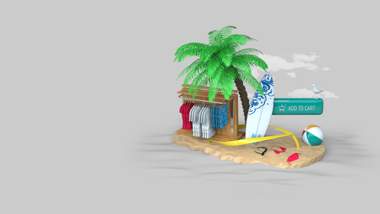 3D rendering of beach, surfboard, and palm tree