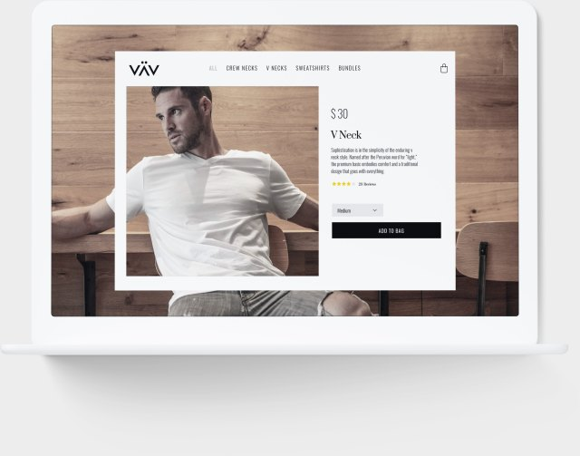 VAV Shopify eCommerce website mockup in computer