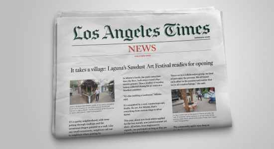 Rareview's PR team secures grand opening media blitz with LA Times and KNBC for the Sawdust Festival.