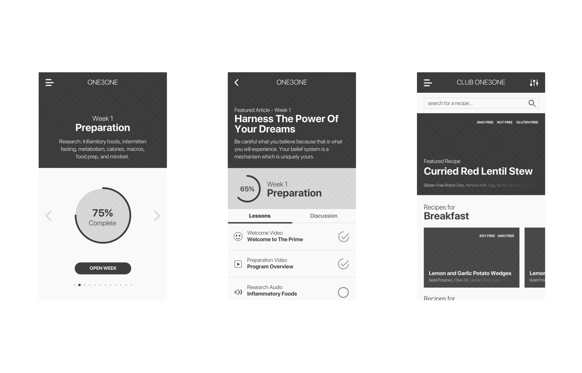 UX / UI Design and Development  wireframes for 131 from Chalene Johnson