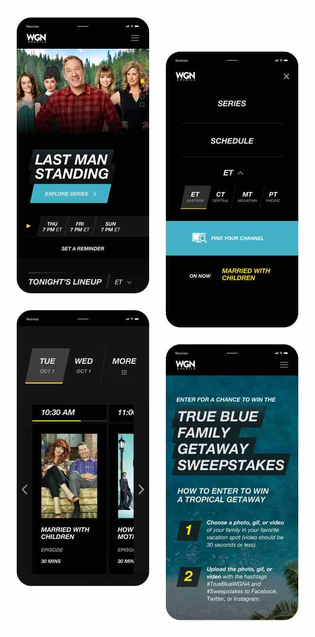 WGN America website in 4 iPhones