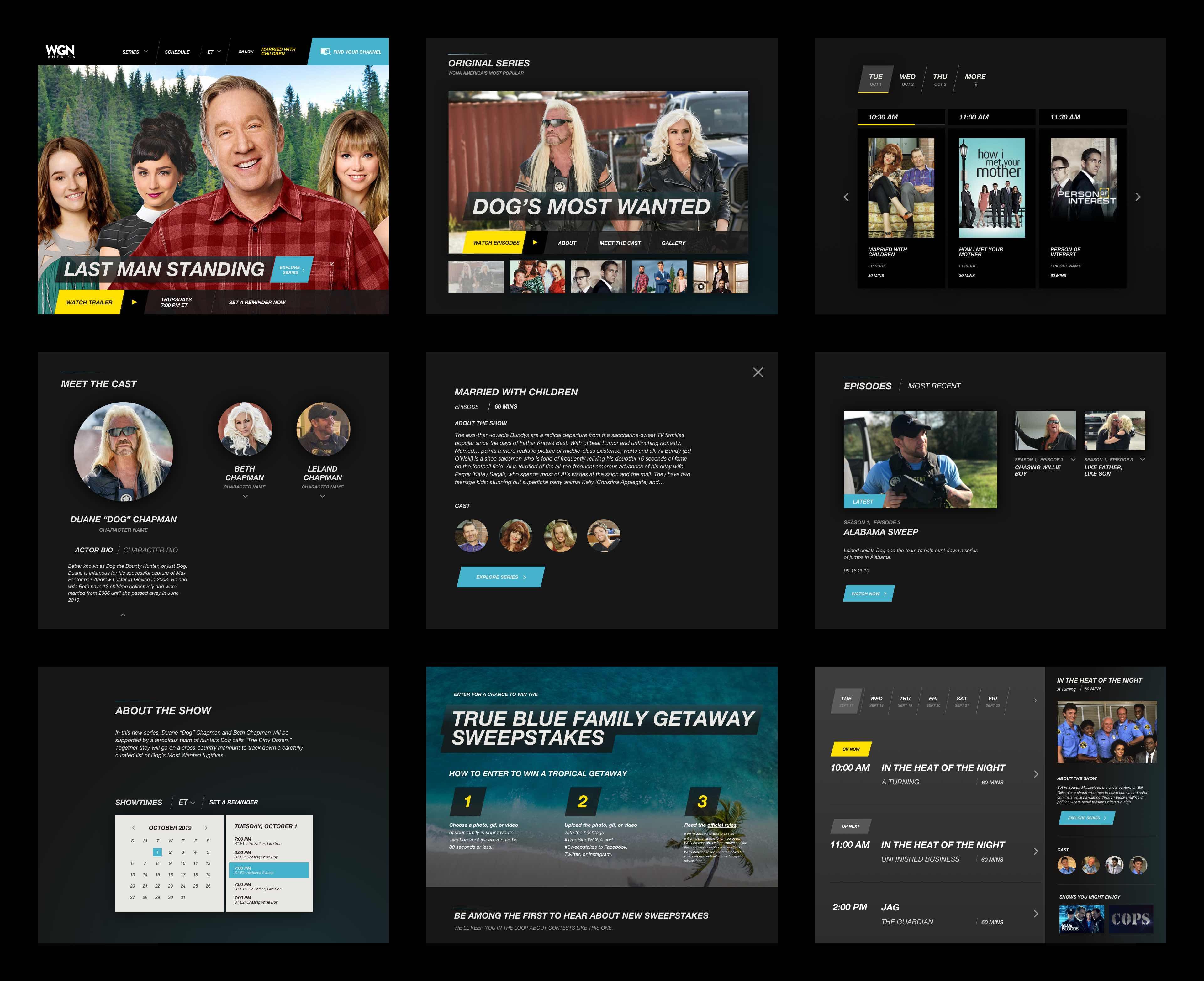 UI interface design for WGN America website
