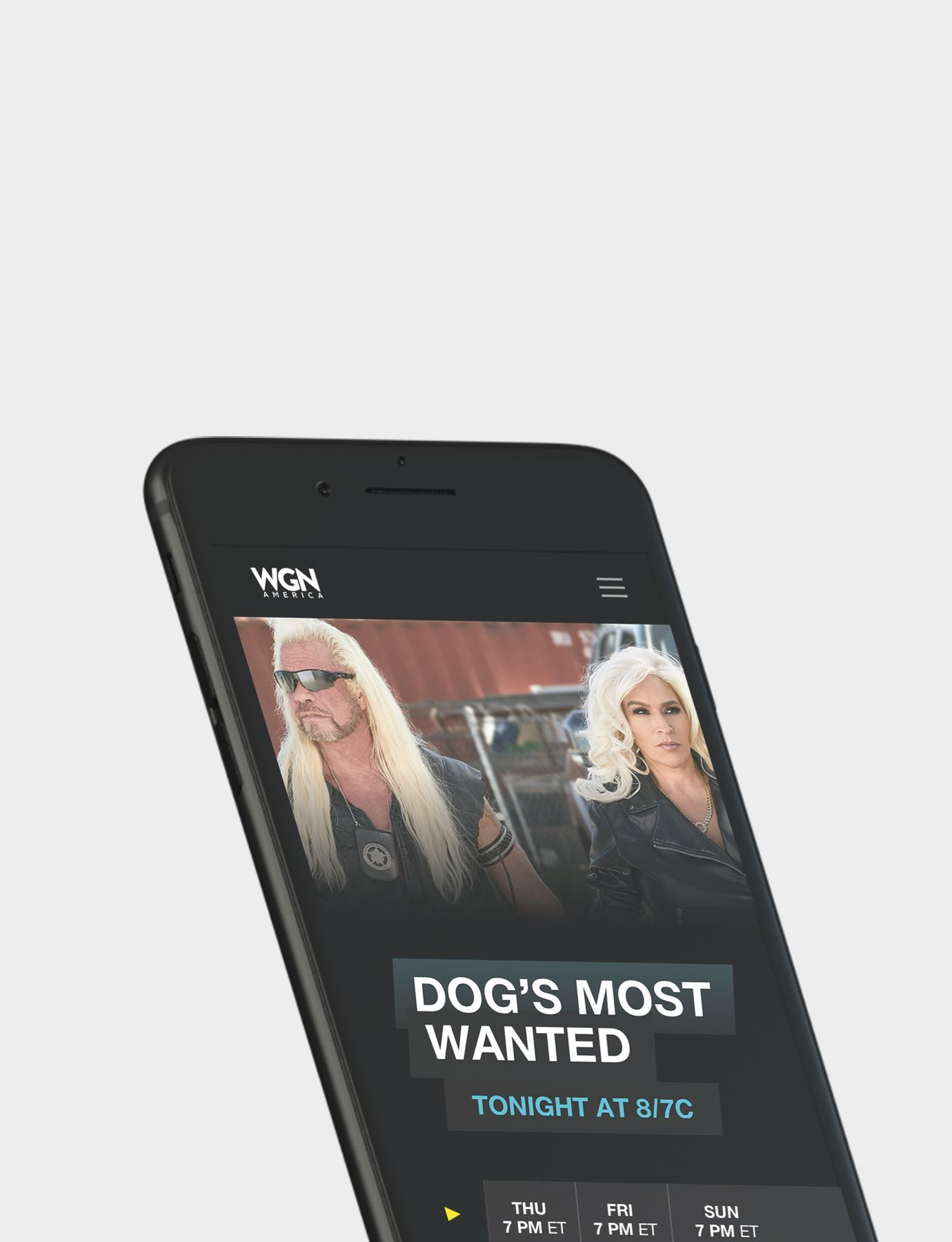 Image of WGN America website on mobile device (phone)