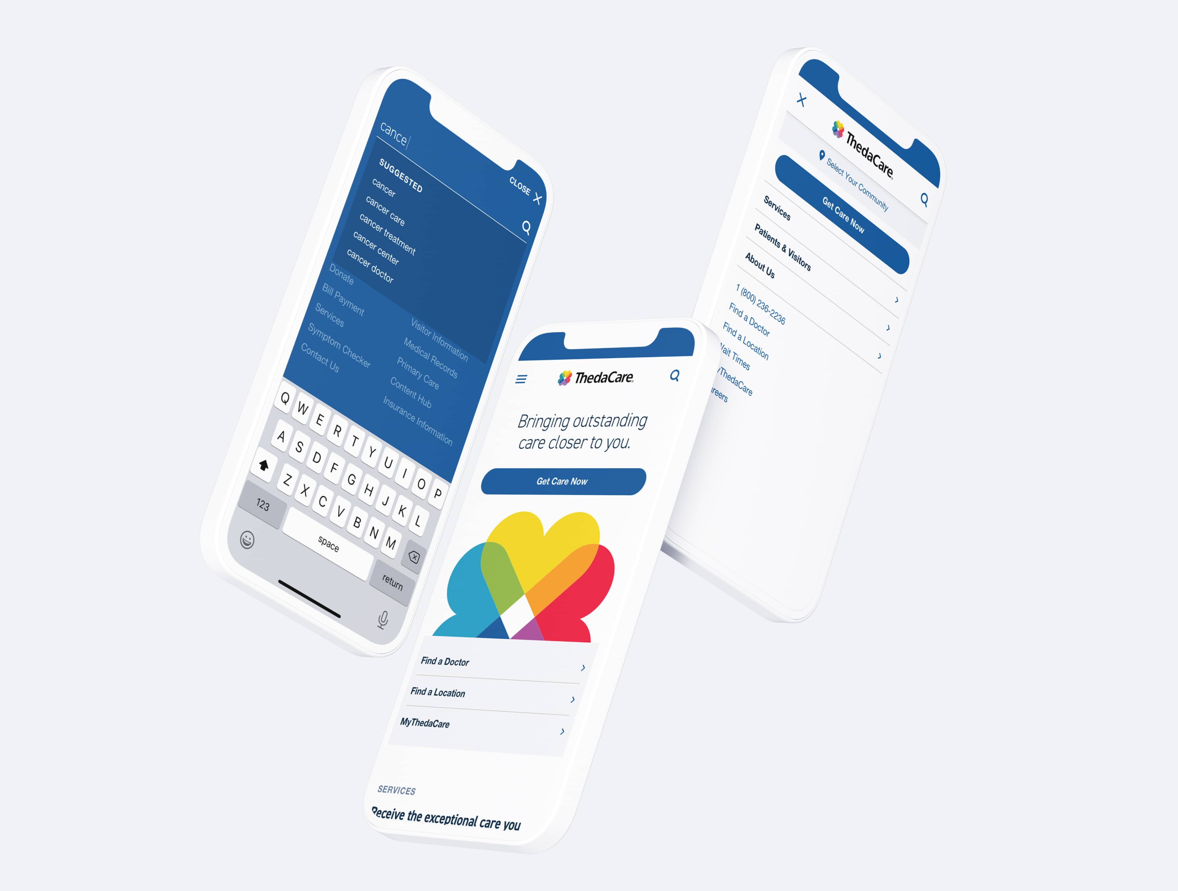 ThedaCare mobile website designs